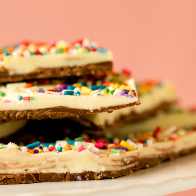 Cake Batter Chocolate Bark
