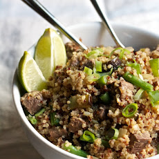 Steak & Quinoa Fried Rice with Eggplant & Green Beans