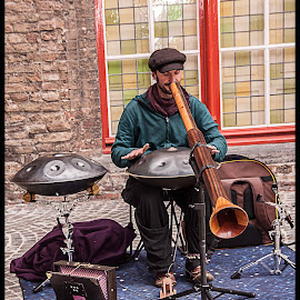 Street Musician in Brugge by Simon Page - People Musicians & Entertainers