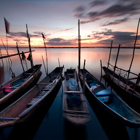 Twilight Time by Noel Angeles - Transportation Boats ( landscpape, sunset, long exposure, seascape, sunrise )