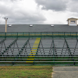 Bleachers at the Topsfield Fair by David Stone - Buildings & Architecture Other Exteriors ( clouds, country fair, empty bleachers, rooftop, bleacher, topsfield fair )