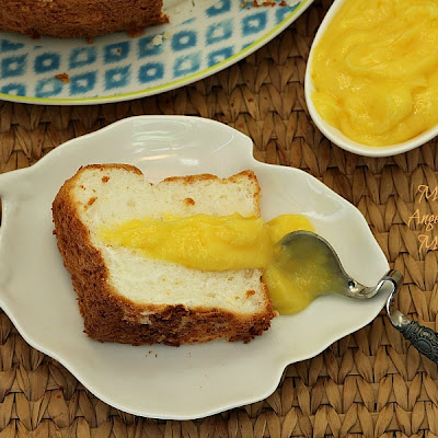 Meyer Lemon Angel Food Cake with Meyer Lemon Curd