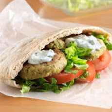 Baked Falafel Pitas with Yogurt Feta Sauce