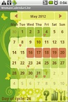 Screenshot of Woman Calendar Lite. Menstrual