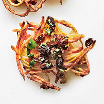 Potato-Carrot Latkes with Lemon-Raisin Topping