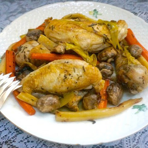 Sautéed Chicken With Leeks, Carrots, Parsnips and Mushrooms