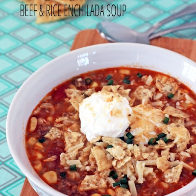 Slow Cooker Beef and Rice Enchilada Soup
