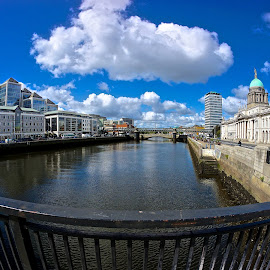 River Liffey, Dublin by Daniel Dudek-Corrigan - City,  Street & Park  Historic Districts ( clouds, fisheye, sky, ireland, ulster bank, dublin, liberty hall, bridge, docklands, custom house, liffey, river )