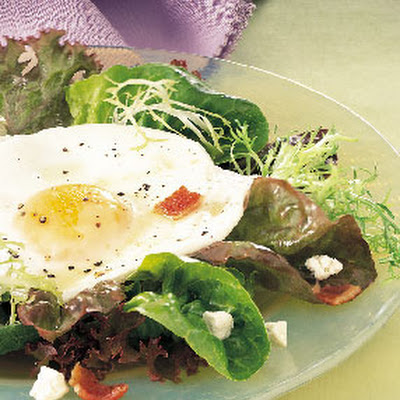 Mixed Greens with Crispy Bacon, Goat Cheese, and Fried Egg