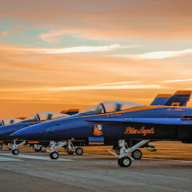 by Brent Clark - Transportation Airplanes ( airplane, sunrise, transportation, jet, blue angels )