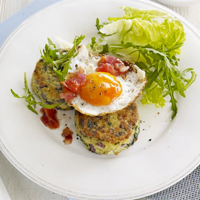 Bulghar & Spinach Fritters With Eggs & Tomato Chutney