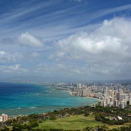 Honolulu from Diamond Head by Norm Dunlap - City,  Street & Park  Skylines ( pacific ocean, honolulu, oahu, hawaii, city )