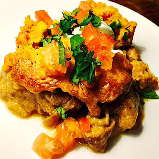 Cheesy Chili Chicken & Cornbread Bake #HealthySolutions Spice Blend™