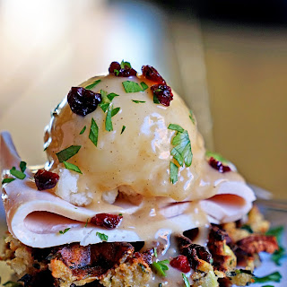 Cranberry Pecan Stuffed Waffles with Turkey Mashed Potatoes and Gravy