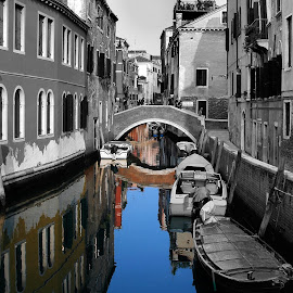 Water Colour by Tom Gordon - Landscapes Travel ( water, venice, bridge, boat, canal, decay )