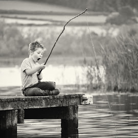 Oh! by Dominic Lemoine Photography - Babies & Children Children Candids ( pier, lake, fishing, bnw, surprise, boy, emotion,  )