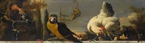 RIJKS: Melchior d' Hondecoeter: Birds on a Balustrade 1690