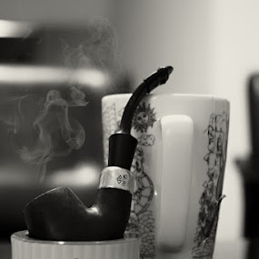 Afternoon Smoke by Pradono Gunawan - Black & White Objects & Still Life ( beverage, afternoon, smoke pipe, tea, smoke )
