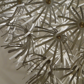 by Liz Rosas - Abstract Patterns ( white flower, paper, lamp, white, fireworks, ikea, vertical lines, pwc )