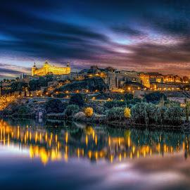 Toledo by Remus Negoita - City,  Street & Park  Historic Districts ( toledo, night, landscape, spain, city )