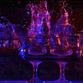 Color Splash by Tj Barney - Abstract Water Drops & Splashes ( water, wine, red, splash, blue, drop, wine glass, glass, elements, tank, droplets )