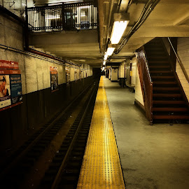 New York Subway by Jason Brooks - City,  Street & Park  Neighborhoods ( angles, subway, lines, yellow, fun, new york )