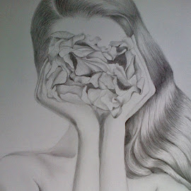 Red Hair Petal by Squips Art - Drawing All Drawing ( squips, graphite, black and white, portrait, drawing )