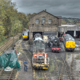 Haworth Railyard by Simon Sweetman - Transportation Trains ( haworth, railrad, railway, train, tracks )