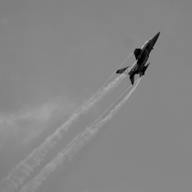 Up and Away by Brook Steed - Transportation Airplanes ( clouds, flight, flying, military jet, monochrome, black and white, airplane, jet, military,  )