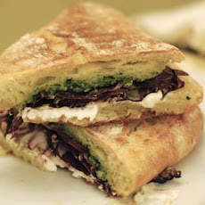 Paninis with Radicchio, Goat Cheese, Citrus Oil, and Almond Pesto