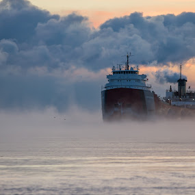 by Beaver Tripp - Transportation Boats ( 2013, fog, ore boat, lake superior, upper michigan, marquette, ore dock )