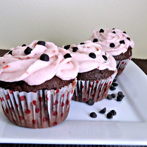 Chocolate Cupcakes with Cherry Butter Cream Frosting