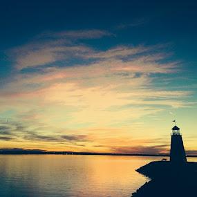 Summer sunset at Lake Hefner by Stephanie Hampton - Landscapes Sunsets & Sunrises ( oklahoma, okc, lake, lakehefner, lighthouse_captures, lighthouse, landscape, loves_sunsets, rsa_sky, skygram, skyonfire, myoklahoma, news_ok, colors )