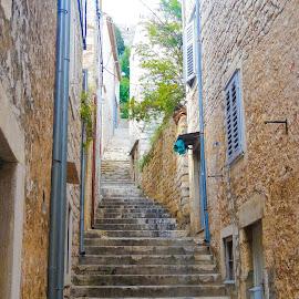 Mediterranean staircase by Tomek Karasek - City,  Street & Park  Neighborhoods ( narrow, stairs, mediterranean, split, chroatia, long stairs )