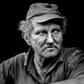 Akos, coal worker - Black & White by Mirela Savu - People Portraits of Men ( black and white, coal, portret, worker, man,  )