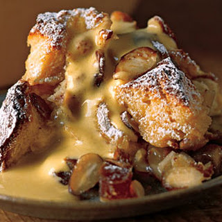Sticky Date and Almond Bread Pudding with Amaretto Zabaglione