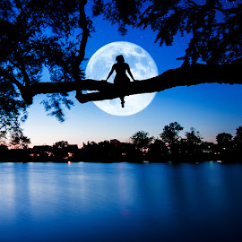 Moon Gazing by Andrew Hale - City,  Street & Park  Night ( moon, moongazing, delaware, lake, night, nightphotography )