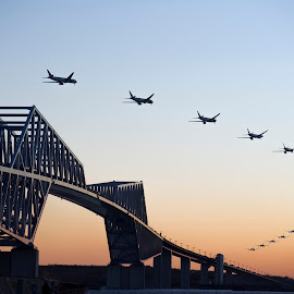 ready for landing by Hiro Nakajima - Transportation Airplanes ( japan, plane, tokyo, bridge, evening, intervalphoto, olympus )