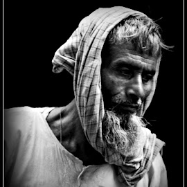 Habib by Prasanta Das - People Portraits of Men ( black and white, rickshaw puller, portrait )