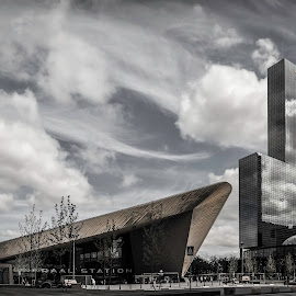 Railway Station Rotterdam Central by David Kooijman - Buildings & Architecture Other Exteriors ( clouds, modern, reflection, rotterdam, holland, architecture, panorama )