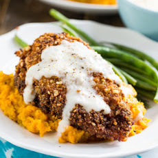 Nutty Fried Chicken with Smashed Sweet Potatoes and Milk Gravy
