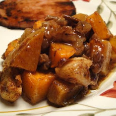 Honey Roasted Butternut Squash With Apples & Pecans