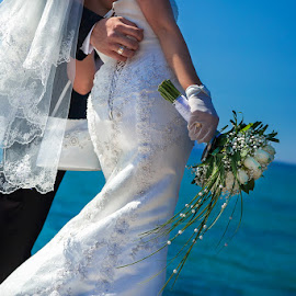About flowers by Alexander Hadji - Wedding Bride & Groom ( sky, sea, flowers, bride, groom )