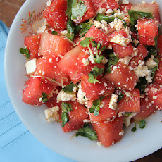 Watermelon Salad with Cilantro, Radish Sprouts, and Cotija