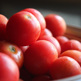 Tomatoes by Janak Panchal - Food & Drink Fruits & Vegetables ( cherrytomatoes, bowl, red, white, tomatoes )