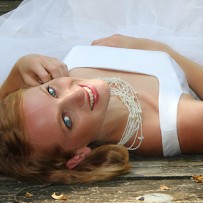 My Love by Freda Nichols - Wedding Bride ( lying down, woman, bride, people, outside, portrait, Wedding, Weddings, Marriage )
