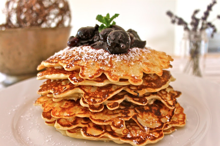 Cornmeal Ricotta Pancakes With Strawberry Rhubarb Compote Recipe ...