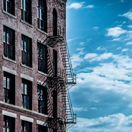 Stairs in the Sky by Jason Brown - City,  Street & Park  Street Scenes ( blue sky, stairs )