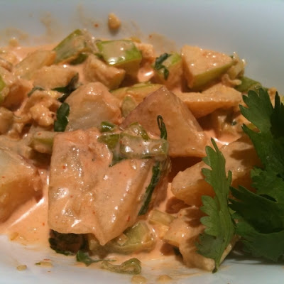 Red Potato Salad with Sriracha and Vinegar-Marinated Celery