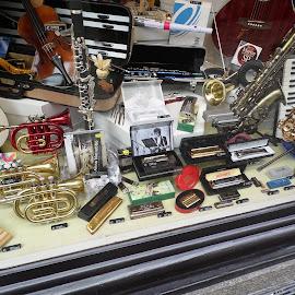 by Breedeen Nulty - City,  Street & Park  Markets & Shops ( shop, salzburg, musical, window, instruments )